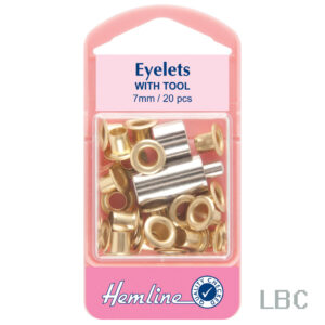 H437.G - Hemline 7mm Eyelets & Tool - Gold