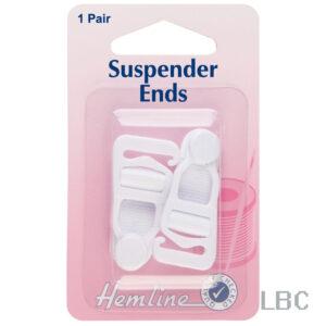 H464.W - Hemline Suspender Ends - White