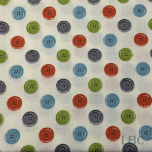 HAB1339 - Simple Sew Buttons - Patterned Cotton Fabric