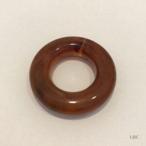 T037-D-3246 - 38mm Diameter x 10mm Large Doughnut Ring - Mottle Brown - Italian Resin Beads