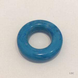 T037-D-3262 - 38mm Diameter x 10mm Large Doughnut Ring - Mottle Blue - Italian Resin Beads