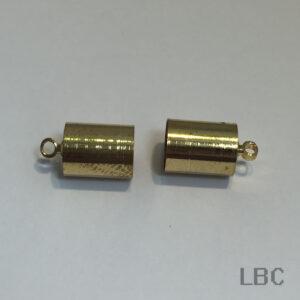 W-93g - 9x7mm Cylinder Cord End Cap - Gold - 100pcs.